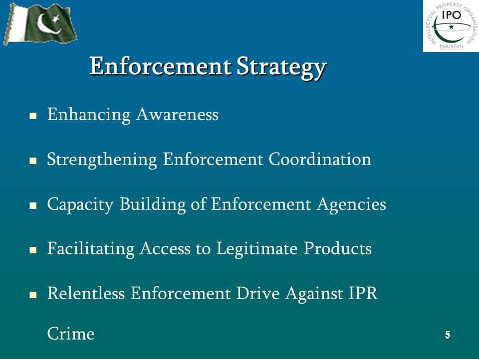 5 Enforcement Strategy Enhancing Awareness Strengthening Enforcement Coordination Capacity Building of Enforcement Agencies Facilitating Access to Legitimate Products Relentless Enforcement Drive Against IPR Crime Effective Prosecution for Achieving Court Convictions 5