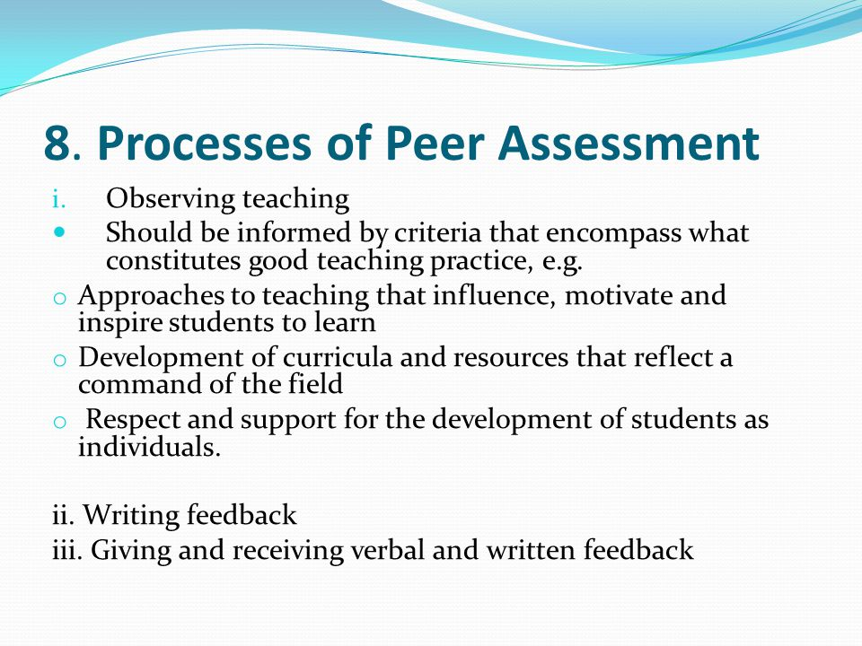 8. Processes of Peer Assessment i.