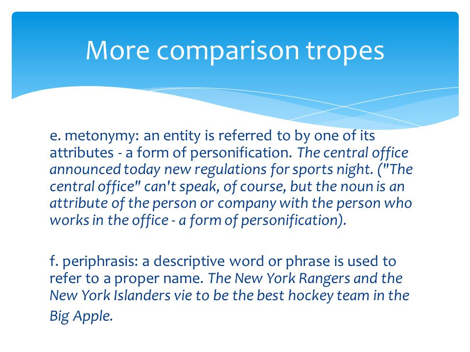 e. metonymy: an entity is referred to by one of its attributes - a form of personification.