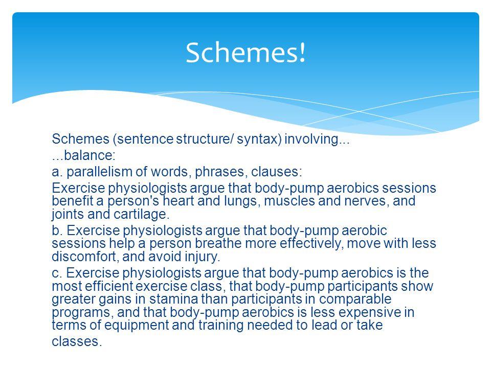 Schemes (sentence structure/ syntax) involving......balance: a.