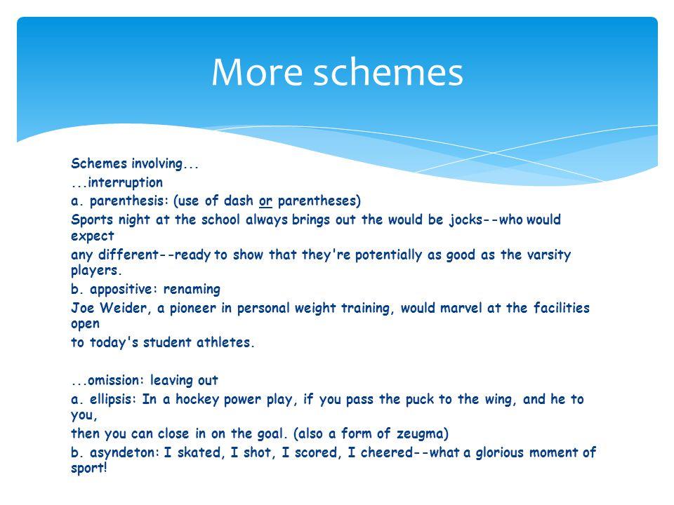 Schemes involving......interruption a.