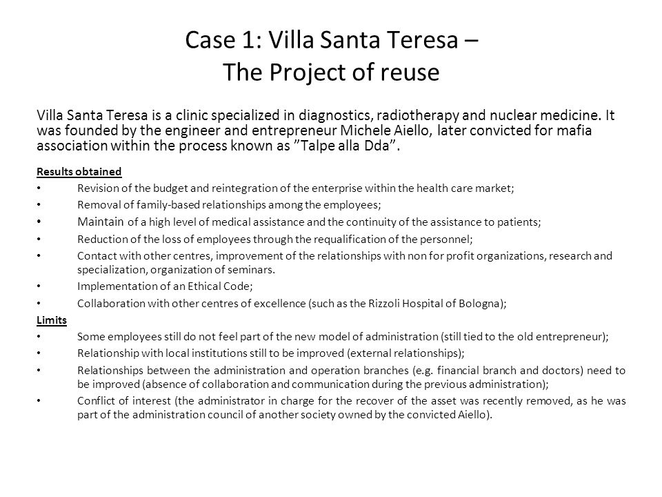 Case 1: Villa Santa Teresa – The Project of reuse Villa Santa Teresa is a clinic specialized in diagnostics, radiotherapy and nuclear medicine.