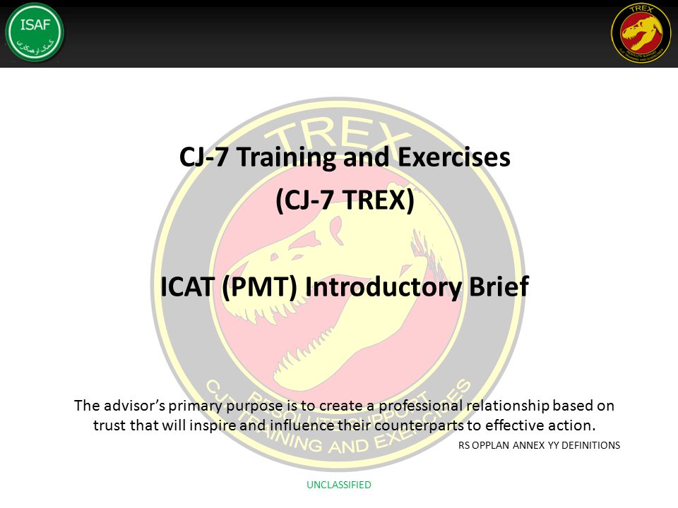 CJ-7 Training and Exercises (CJ-7 TREX) ICAT (PMT) Introductory Brief The advisor's primary purpose is to create a professional relationship based on