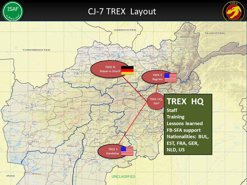 CJ-7 TREX Layout TREX N Mazar-e-Sharif TREX N Mazar-e-Sharif TREX S Kandahar TREX S Kandahar TREX HQ, ISAF TREX E Bagram TREX E Bagram TREX HQ Staff T