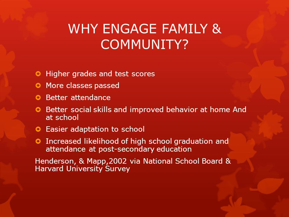 WHY ENGAGE FAMILY & COMMUNITY.