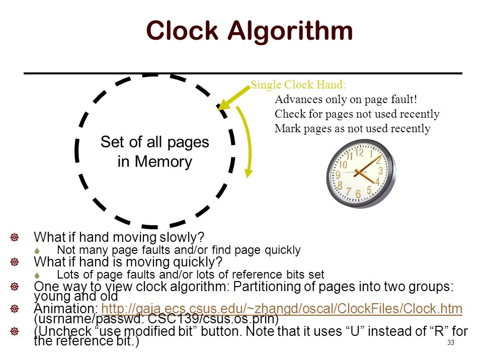 Clock Algorithm Set of all pages in Memory Single Clock Hand: Advances only on page fault.