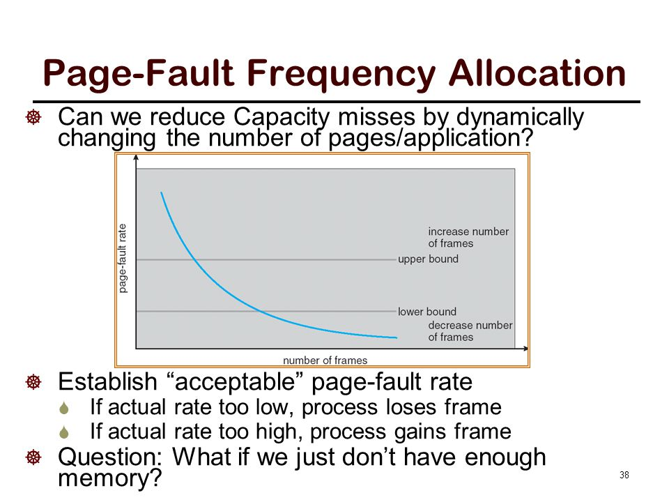 """Page-Fault Frequency Allocation  Can we reduce Capacity misses by dynamically changing the number of pages/application?  Establish """"acceptable"""" page"""