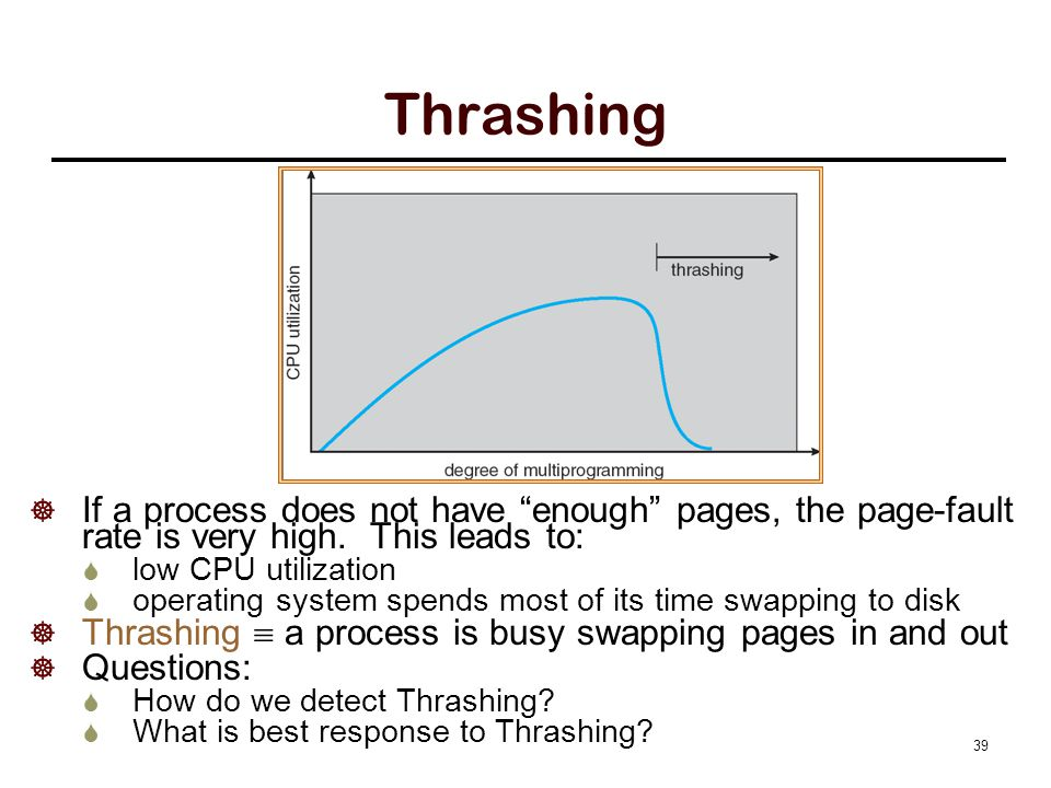 """Thrashing  If a process does not have """"enough"""" pages, the page-fault rate is very high. This leads to:  low CPU utilization  operating system spend"""