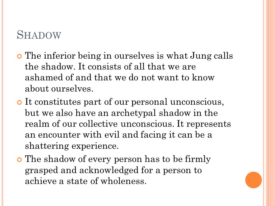 S HADOW The inferior being in ourselves is what Jung calls the shadow.