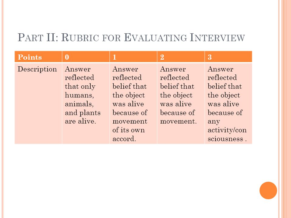 P ART II: R UBRIC FOR E VALUATING I NTERVIEW Points0123 DescriptionAnswer reflected that only humans, animals, and plants are alive.