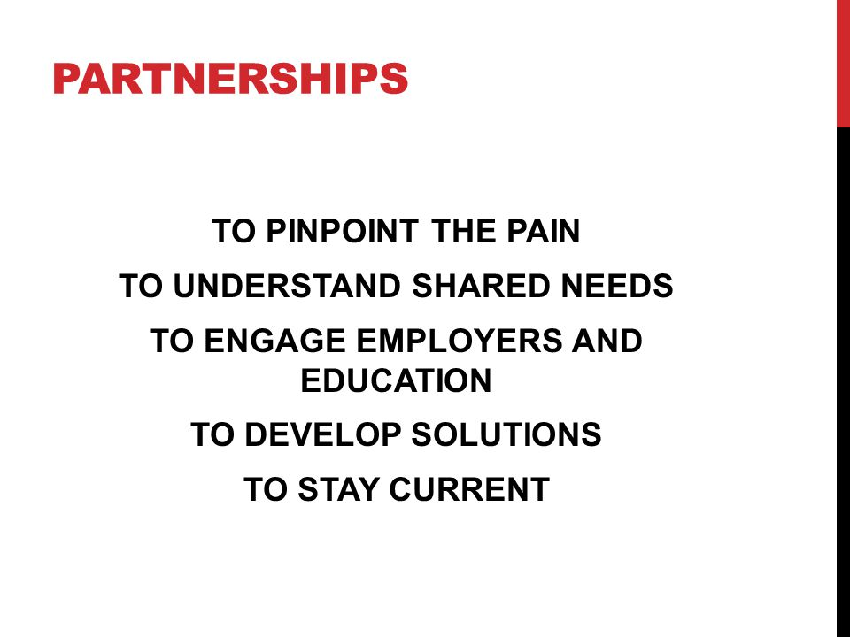 PARTNERSHIPS TO PINPOINT THE PAIN TO UNDERSTAND SHARED NEEDS TO ENGAGE EMPLOYERS AND EDUCATION TO DEVELOP SOLUTIONS TO STAY CURRENT