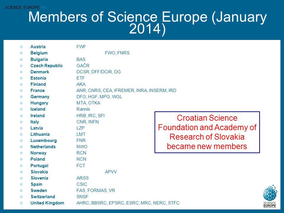 SCIENCE EUROPE I 6 Members of Science Europe (January 2014) AustriaFWF Belgium FWO, FNRS BulgariaBAS Czech Republic GAČR Denmark DCSR, DFF/DCIR, DG Es