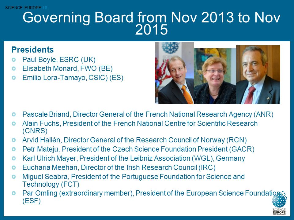 SCIENCE EUROPE I 8 Governing Board from Nov 2013 to Nov 2015 Presidents Paul Boyle, ESRC (UK) Elisabeth Monard, FWO (BE) Emilio Lora-Tamayo, CSIC) (ES) Pascale Briand, Director General of the French National Research Agency (ANR) Alain Fuchs, President of the French National Centre for Scientific Research (CNRS) Arvid Hallén, Director General of the Research Council of Norway (RCN) Petr Mateju, President of the Czech Science Foundation President (GACR) Karl Ulrich Mayer, President of the Leibniz Association (WGL), Germany Eucharia Meehan, Director of the Irish Research Council (IRC) Miguel Seabra, President of the Portuguese Foundation for Science and Technology (FCT) Pär Omling (extraordinary member), President of the European Science Foundation (ESF)