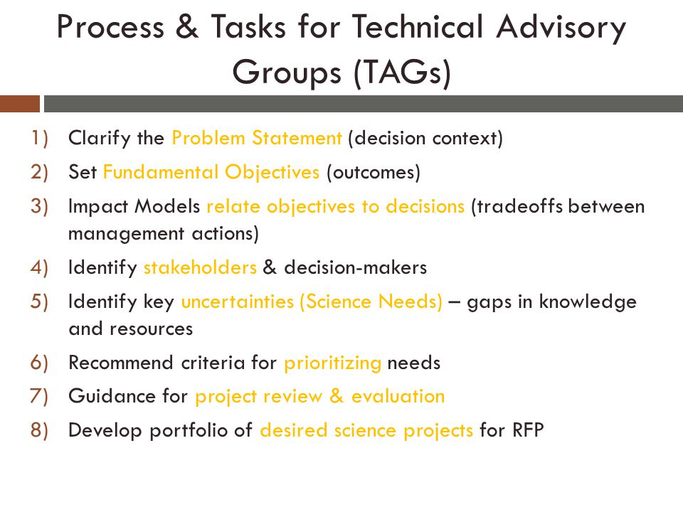 Process & Tasks for Technical Advisory Groups (TAGs) 1)Clarify the Problem Statement (decision context) 2)Set Fundamental Objectives (outcomes) 3)Impact Models relate objectives to decisions (tradeoffs between management actions) 4)Identify stakeholders & decision-makers 5)Identify key uncertainties (Science Needs) – gaps in knowledge and resources 6)Recommend criteria for prioritizing needs 7)Guidance for project review & evaluation 8)Develop portfolio of desired science projects for RFP