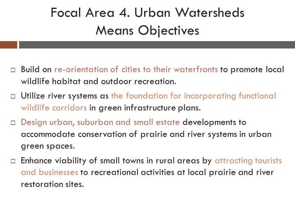  Build on re-orientation of cities to their waterfronts to promote local wildlife habitat and outdoor recreation.