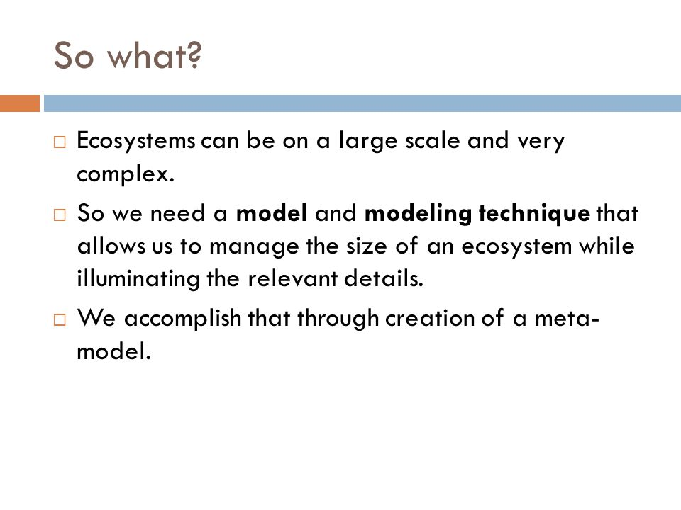 So what?  Ecosystems can be on a large scale and very complex.  So we need a model and modeling technique that allows us to manage the size of an ec