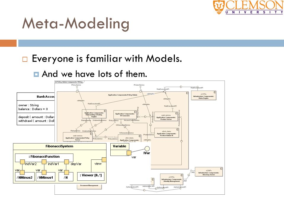 Meta-Modeling  Everyone is familiar with Models.  And we have lots of them.