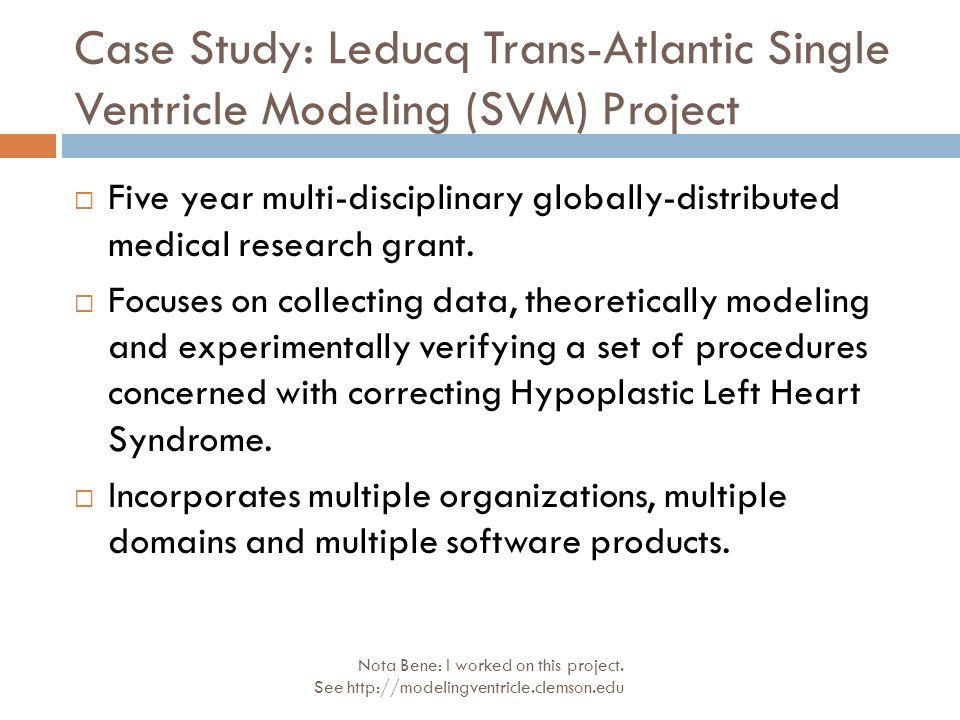 Case Study: Leducq Trans-Atlantic Single Ventricle Modeling (SVM) Project Nota Bene: I worked on this project. See http://modelingventricle.clemson.ed