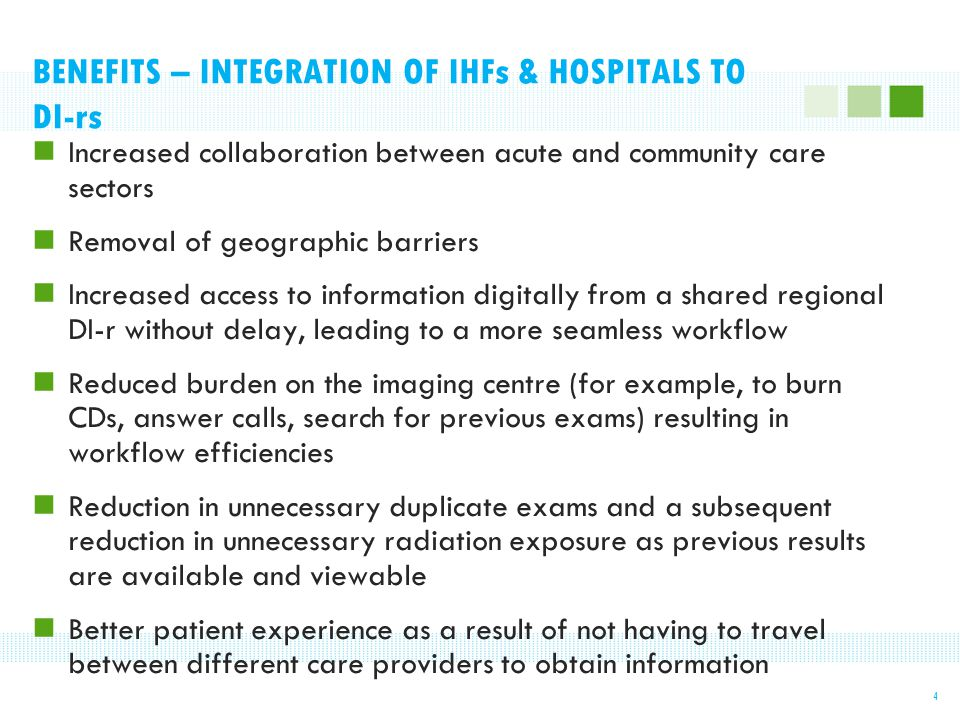 BENEFITS – INTEGRATION OF IHFs & HOSPITALS TO DI-rs Increased collaboration between acute and community care sectors Removal of geographic barriers In