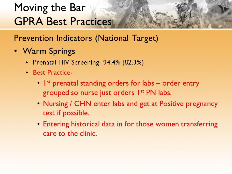 Moving the Bar GPRA Best Practices Prevention Indicators (National Target) Warm Springs Prenatal HIV Screening- 94.4% (82.3%) Best Practice- 1 st prenatal standing orders for labs – order entry grouped so nurse just orders 1 st PN labs.