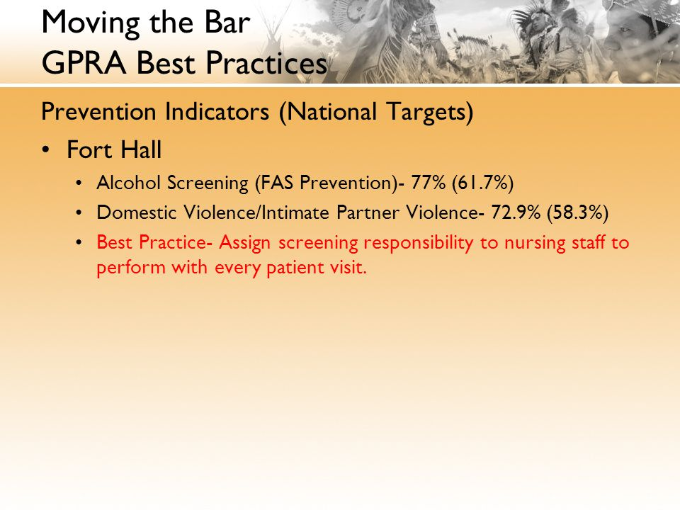 Moving the Bar GPRA Best Practices Prevention Indicators (National Targets) Fort Hall Alcohol Screening (FAS Prevention)- 77% (61.7%) Domestic Violenc