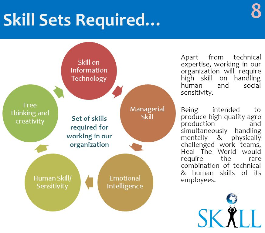 Skill on Information Technology Managerial Skill Emotional Intelligence Human Skill/ Sensitivity Free thinking and creativity Skill Sets Required… 8 Set of skills required for working in our organization Apart from technical expertise, working in our organization will require high skill on handling human and social sensitivity.