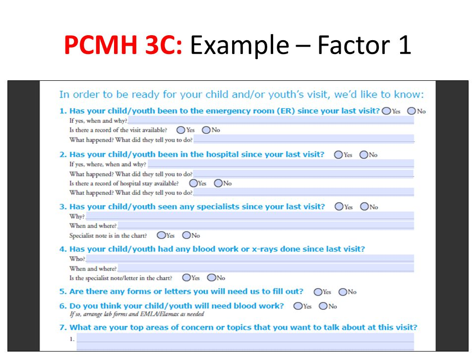 PCMH 3C: Example – Factor 1
