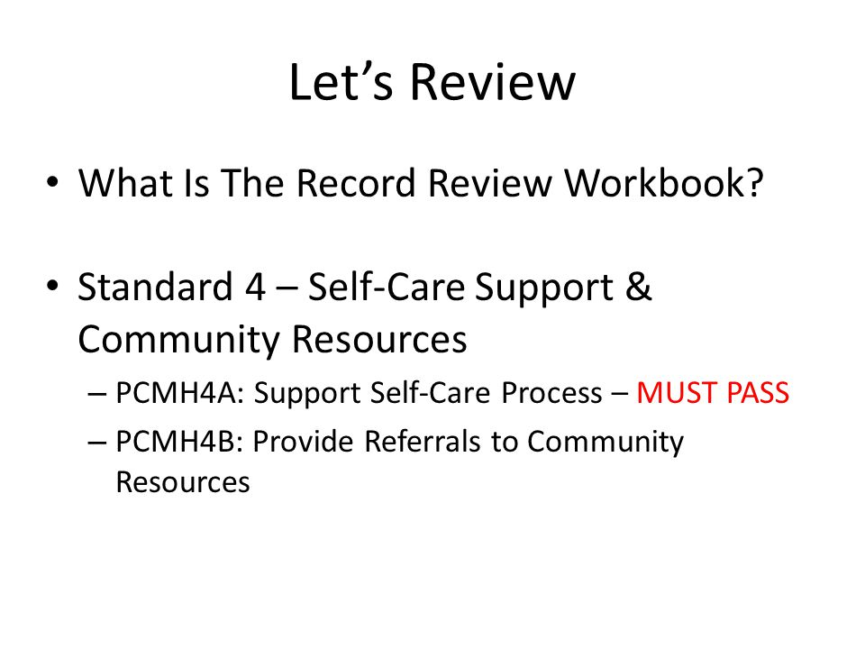 Let's Review What Is The Record Review Workbook.