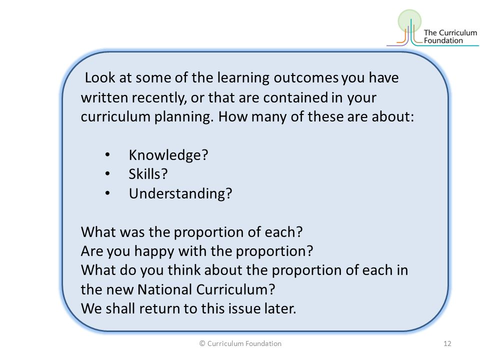 Look at some of the learning outcomes you have written recently, or that are contained in your curriculum planning.