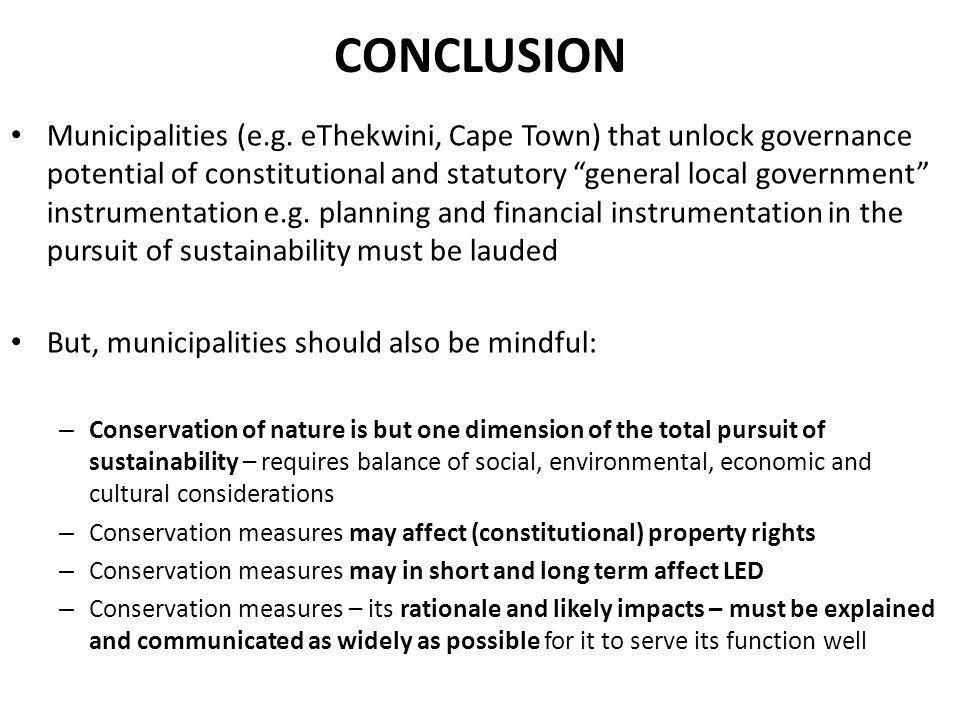 CONCLUSION Municipalities (e.g.