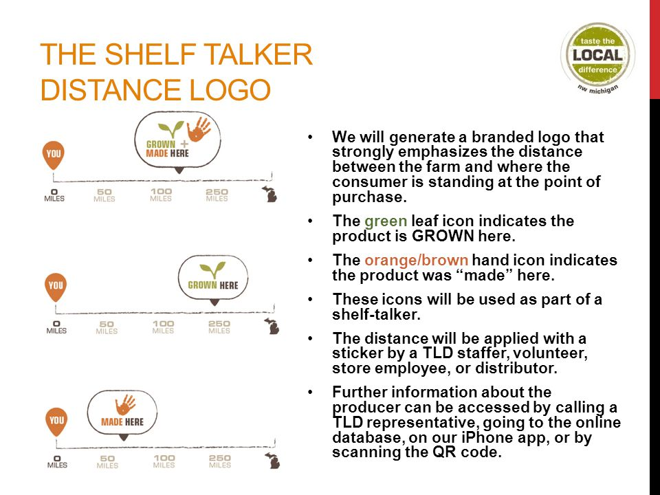 THE SHELF TALKER DISTANCE LOGO We will generate a branded logo that strongly emphasizes the distance between the farm and where the consumer is standing at the point of purchase.