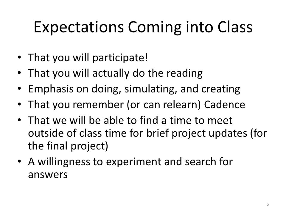 Expectations Coming into Class That you will participate.