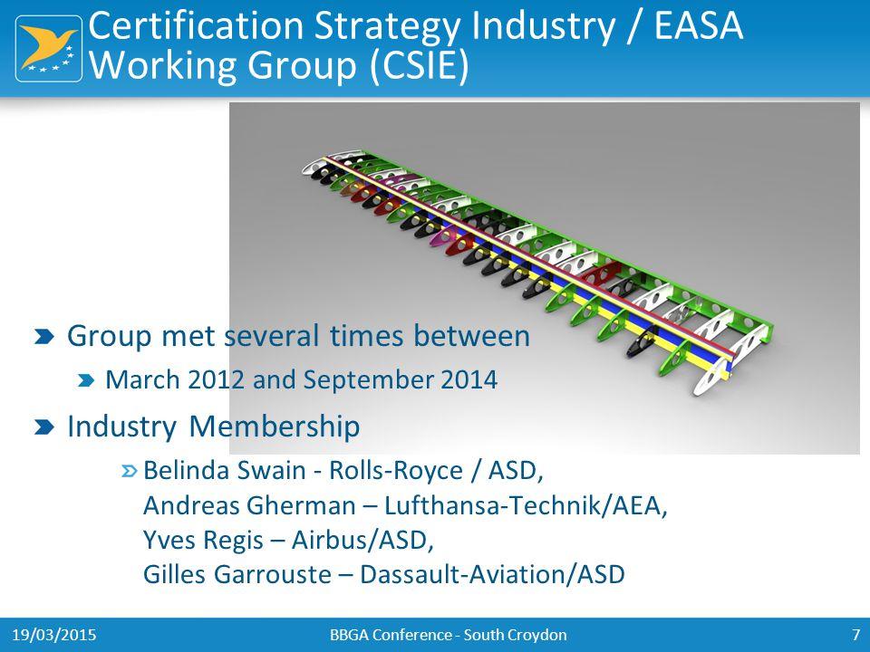 Certification Strategy Industry / EASA Working Group (CSIE) Group met several times between March 2012 and September 2014 Industry Membership Belinda