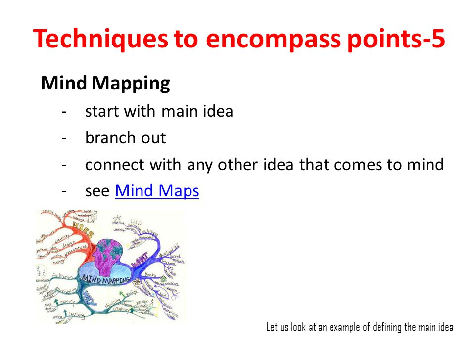 Techniques to encompass points-5 Mind Mapping -start with main idea -branch out -connect with any other idea that comes to mind -see Mind MapsMind Map