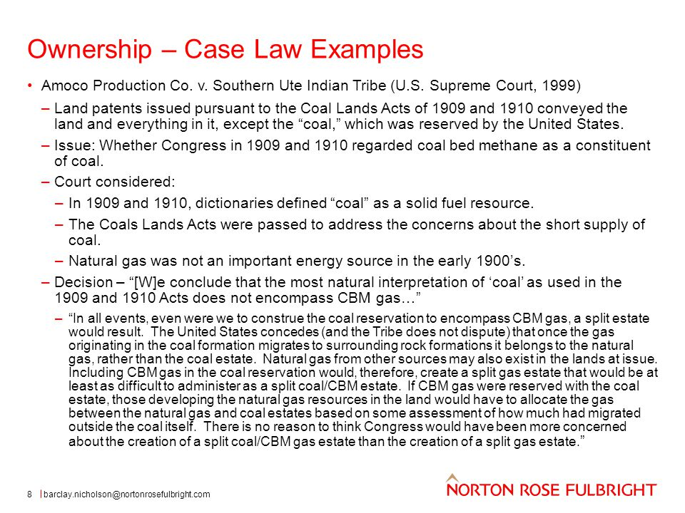 Ownership – Case Law Examples 8 Amoco Production Co.