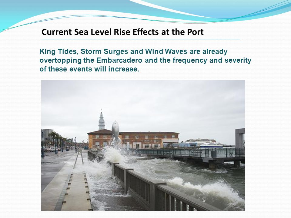 King Tides, Storm Surges and Wind Waves are already overtopping the Embarcadero and the frequency and severity of these events will increase.