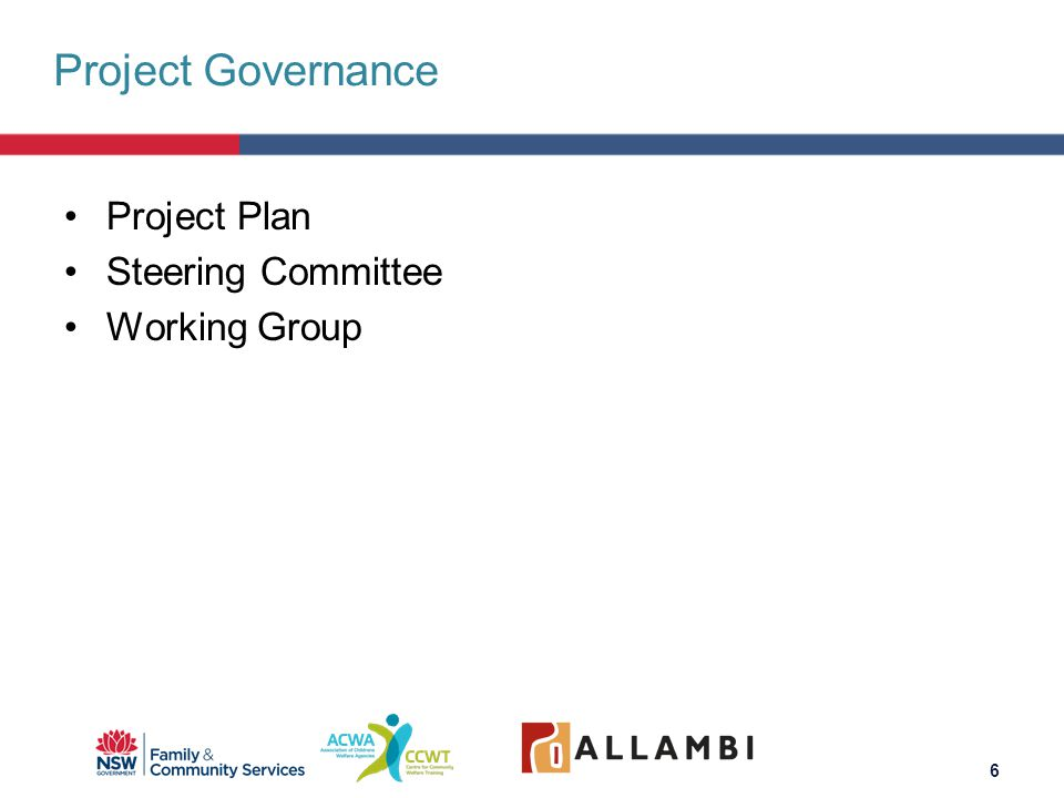 Project Plan Steering Committee Working Group Project Governance 6