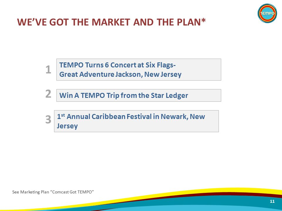 WE'VE GOT THE MARKET AND THE PLAN* 11 Win A TEMPO Trip from the Star Ledger TEMPO Turns 6 Concert at Six Flags- Great Adventure Jackson, New Jersey 1 st Annual Caribbean Festival in Newark, New Jersey 1 2 3 See Marketing Plan Comcast Got TEMPO