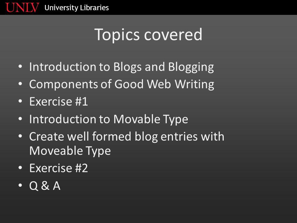 EXERCISE #1 University Libraries