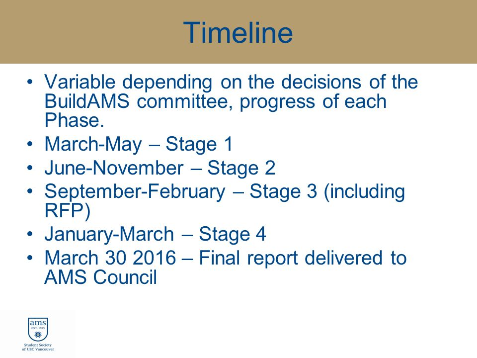 Timeline Variable depending on the decisions of the BuildAMS committee, progress of each Phase.