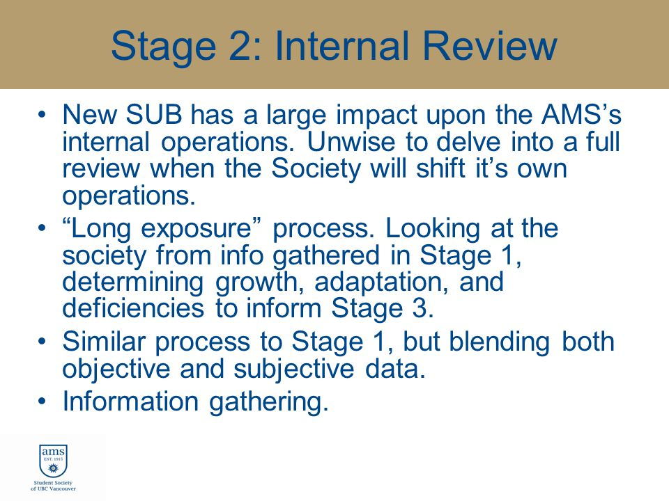 Stage 2: Internal Review New SUB has a large impact upon the AMS's internal operations.