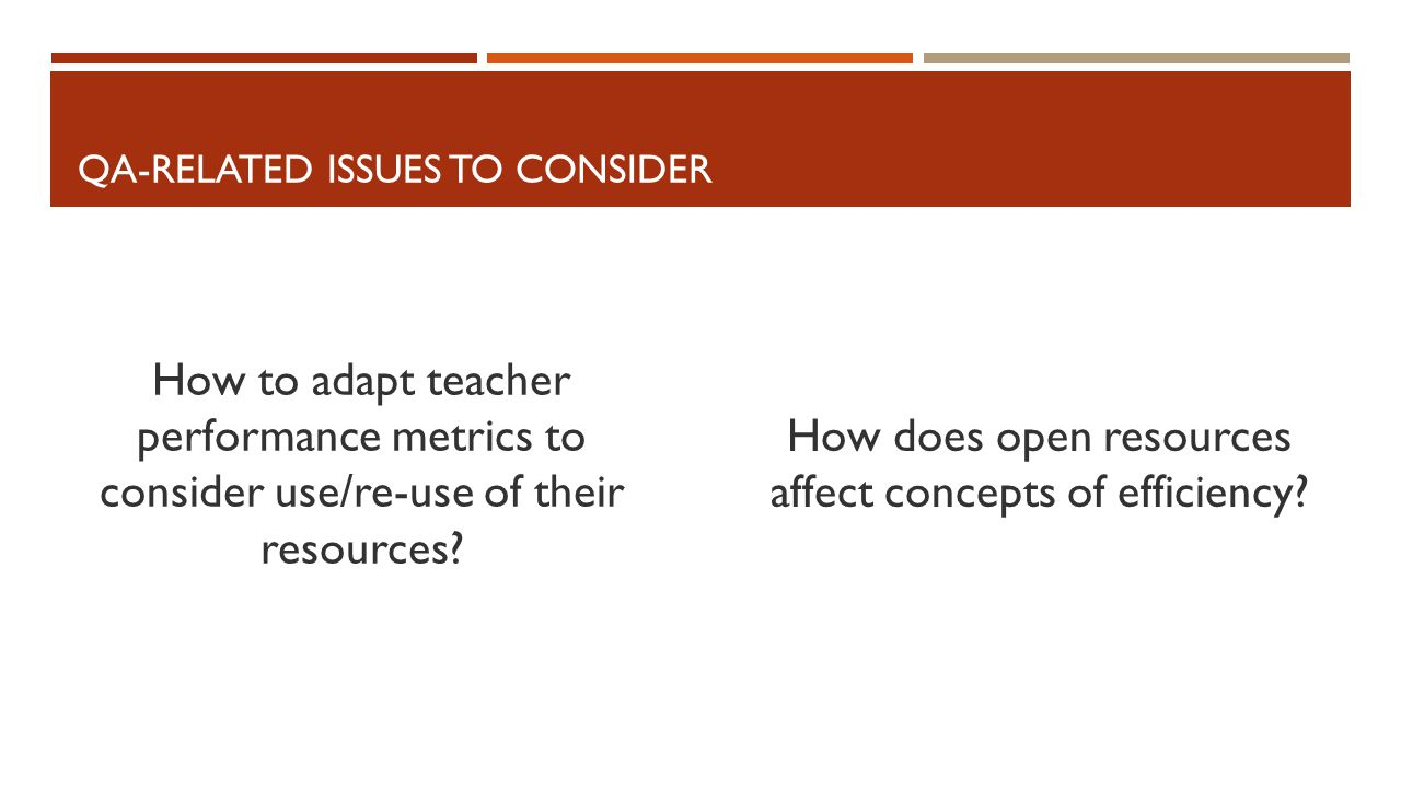 QA-RELATED ISSUES TO CONSIDER How to adapt teacher performance metrics to consider use/re-use of their resources.