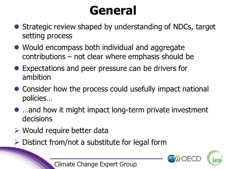 3 Climate Change Expert Group General Strategic review shaped by understanding of NDCs, target setting process Would encompass both individual and agg