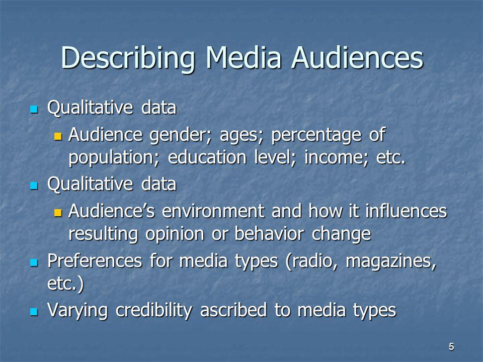 Describing Media Audiences Qualitative data Qualitative data Audience gender; ages; percentage of population; education level; income; etc.