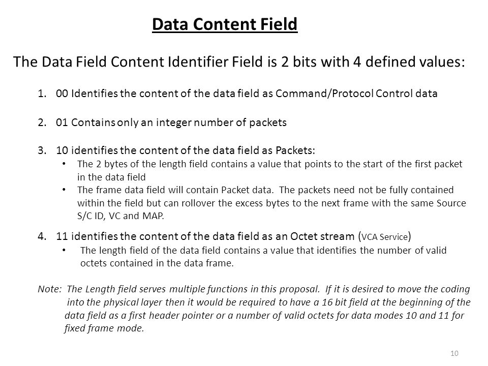 Data Content Field The Data Field Content Identifier Field is 2 bits with 4 defined values: 1.00 Identifies the content of the data field as Command/P