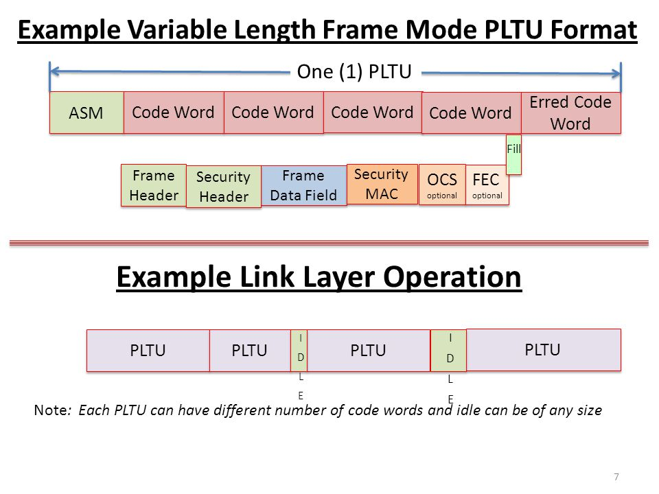 Example Variable Length Frame Mode PLTU Format Frame Header Frame Data Field Security MAC OCS optional OCS optional FEC optional Security Header ASM C