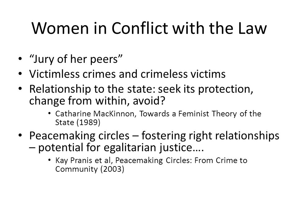 Women in Conflict with the Law Jury of her peers Victimless crimes and crimeless victims Relationship to the state: seek its protection, change from within, avoid.