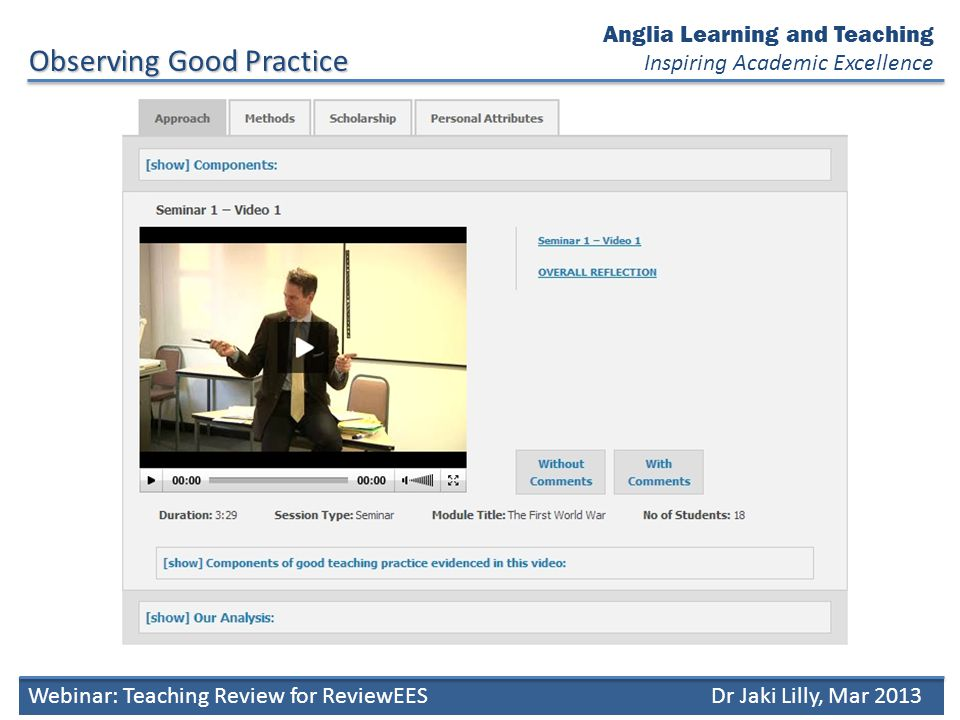 Anglia Learning and Teaching Inspiring Academic ExcellenceDiscussion Webinar: Teaching Review for ReviewEESDr Jaki Lilly, Mar 2013 Which elements of good teaching practice did you see.