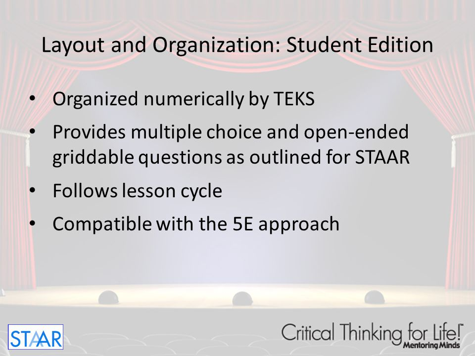 Layout and Organization: Student Edition Units for Readiness Standards 8 pages for Levels 3-5 Introduction Guided Practice Independent Practice Assessment Extended Practice Motivation Station Critical Thinking/Math Journal Homework/Parent Activities