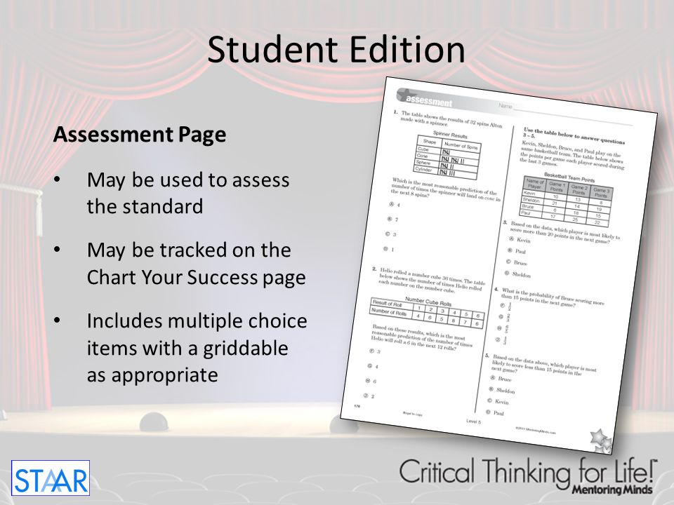 Extended Practice Page (for Readiness Units only) Includes 3-4 items with a deeper focus Targets student problem solving skills Provides open-ended or short constructed response format Student Edition